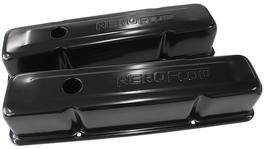 Aeroflow AF1822-5000 Valve Cover Tall Black With Logo Fits Chev 283-350 SBC