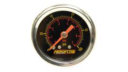 "Aeroflow AF30-2005 1-1/2"" 0-100 Psi Pressuree Gauge Black Face Orange Pointer"