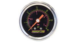 "Aeroflow AF30-2010 1-1/2"" 0-30 Psi Pressuree Gauge Black Face Orange Pointer"