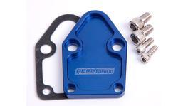Aeroflow AF64-2028 Billet Fuel Pump Block Off Plate Blue Suits SBC
