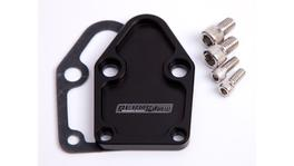 Aeroflow AF64-2028BLK Billet Fuel Pump Block Off Plate Black Suits SBC