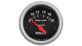 "AutoMeter Sport-Comp 2-1/16"" Volt Meter Gauge 8-18 Volts Short Sweep Electric AU3391"
