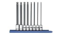 "GearWrench Socket Set Bit Set 3/8"" Drive Long Ball Hex Rail MET 8Pc"
