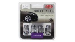 """SAAS Wheel Nuts Acorn Bulge 1/2"""" Chrome 35mm (5 Pack) 335315"""