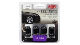 "SAAS Wheel Nuts Flat Head Bulge 1/2"" Black 35mm (5 Pack) 435915BC"