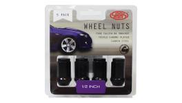 """SAAS Wheel Nuts Flat Head Bulge 1/2"""" Black 40mm (5 Pack) 440915BC"""
