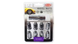 "SAAS Wheel Nuts S/D 6 Spline 1/2"" (Inc Key) Chrome (10 Pack) 6330110"