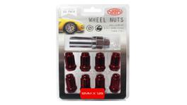 SAAS Wheel Nuts S/D 6 Spline M12x1.25 (Inc Key) Red (10 Pack) 6330510R