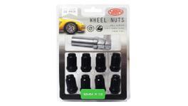SAAS Wheel Nuts S/D 6 Spline M12x1.50 (Inc Key) Black (10 Pack) 6330610BC