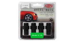 SAAS Wheel Nuts Mag M12x1.50 Black 43mm (5 Pack) 743465BC