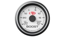 """SAAS Muscle Series 2-1/16"""" Boost Gauge 30 In Hg/20 Psi White SG-TB52W"""