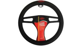 SAAS Steering Wheel Cover - Black Poly With Logo 380mm SWC005