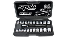 SP Tools Socket Set 1/4Dr 6Pt Low Profile 23Pc Metric/Sae