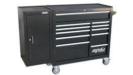 SP Tools Roller Cab Black Custom 11 Drawer + Side Cabinet