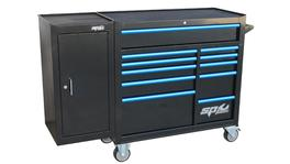 SP Tools Roller Cab Blk/Blu Custom 11 Drawer + Side Cabinet