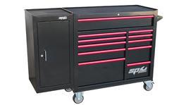 SP Tools Roller Cab Blk/Red Custom 11 Drawer + Side Cabinet