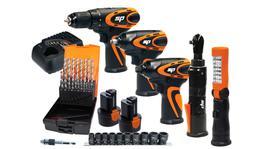 SP Tools Cordless 12V Mechanics 5pc Workshop Combo Kit with BONUS Impact Socket Set, Drill Bit Set & Socket Adapter