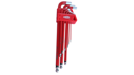 888 By SP Tools Key Set 9Pc SAE Ball Drive Hex (Red)